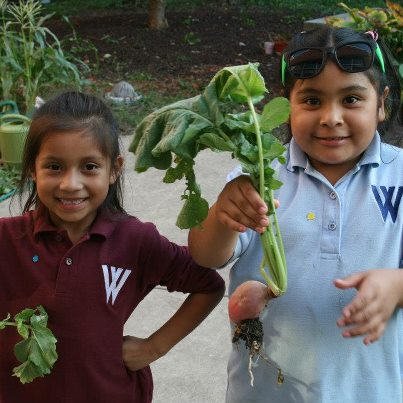 kids with greens