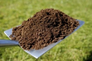 soil on shovel