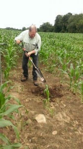 Kip checking soil
