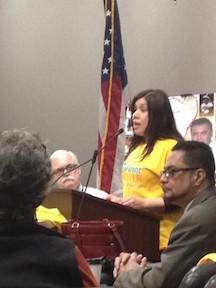 Gloria Mora speaking