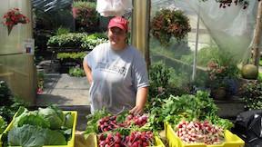 Sara in greenhouse