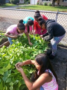 students in garden