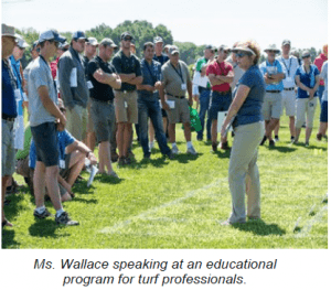 UConn turfgrass field day - Vickie Wallace presenting