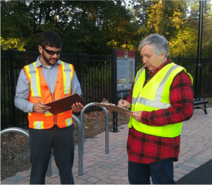 volunteers collect CT Trail Census data in 2017 on a multi-use trail