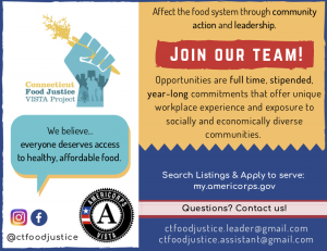 VISTA flyer recruiting services members for 2018-19 for food justice projects