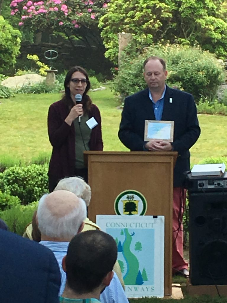 Laura Brown receiving award for CT Trail Census work