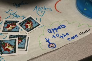 apples drawing and stickers from child