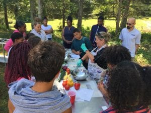 making the three sisters recipe with members of the Mashantucket tribe