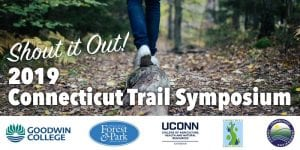 trail symposium header showing person's feet walking in woods and logos of sponsors