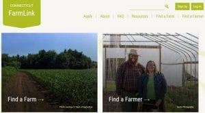 screenshot of the homepage of the CT Farm Link website