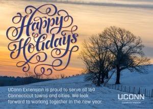 Happy holidays text on winter photo of Horsebarn Hill