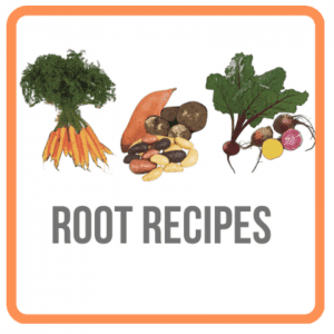 illustration of root vegetables with the text root recipes under it