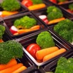 vegetables in trays