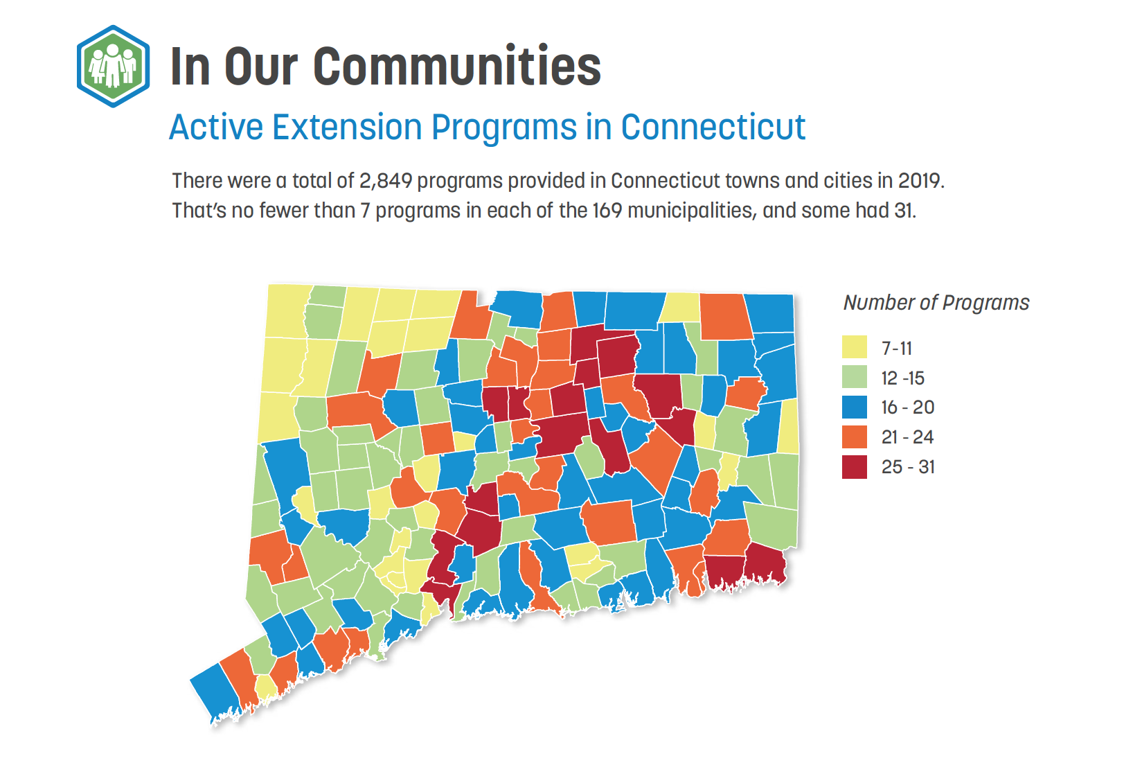 map of UConn Extension program in Connecticut communities using 2019 data