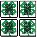four boxes with 4-H clover that say pest or guest on them
