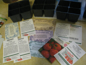 Tomato seeds and cell packs