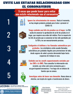avoiding coronavirus scams flyer in Spanish