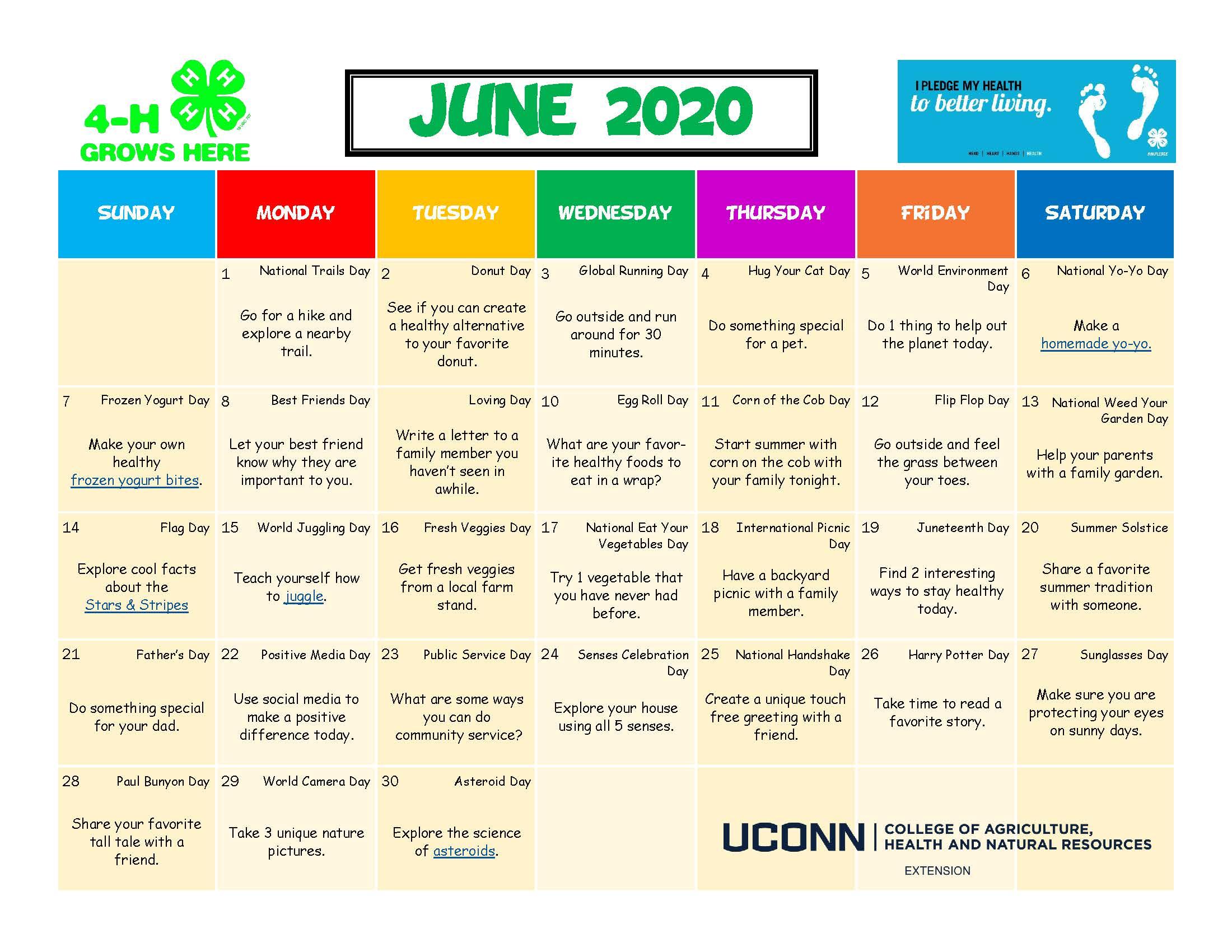 4-h Activity calendar for June 2020