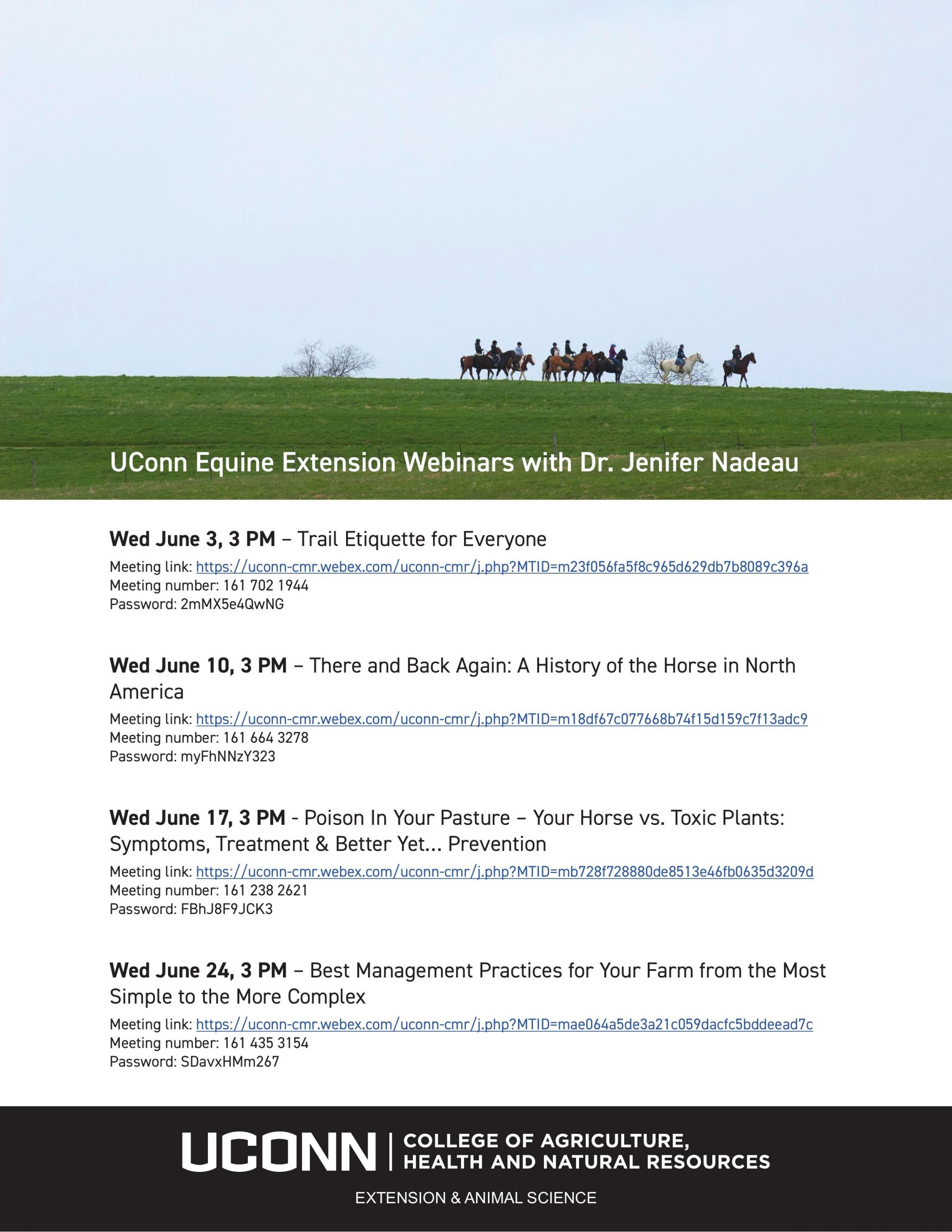 horse riders and UConn Equine Extension Webinar series information