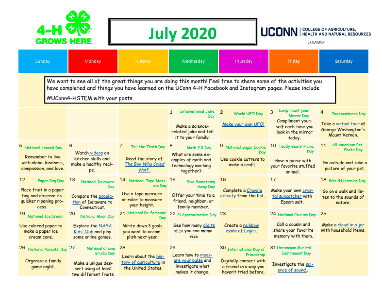 UConn 4-H July Activity Calendar