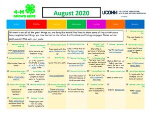 UConn 4-H August Activity Calendar